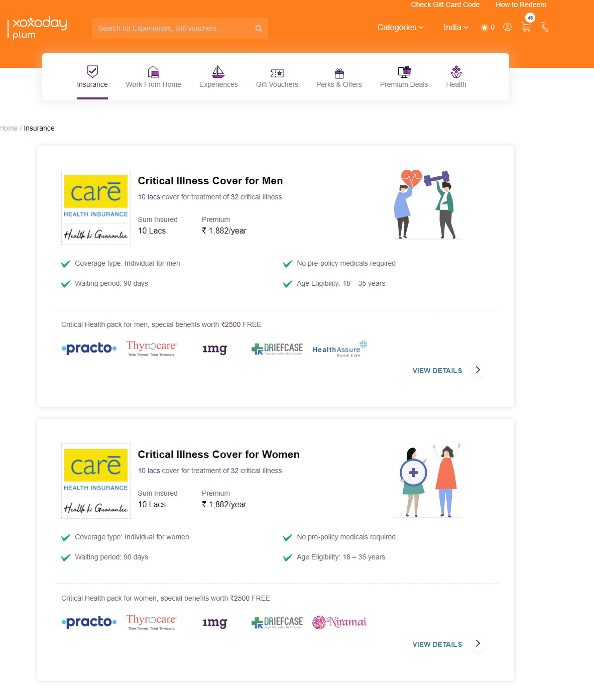 A snippet of how the Insurance segment looks like at Xoxoday Stores.