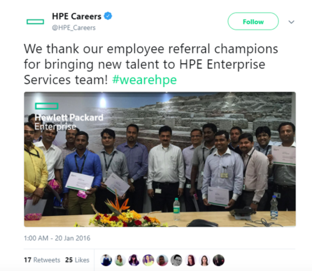 Hewlett Packard Enterprise (HPE) motivates its employees by publicly recognizing their contribution to the company on social media.