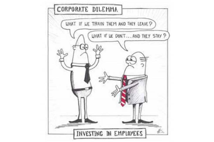 Cartoon about Corporate Dilemma and Investing in Employees