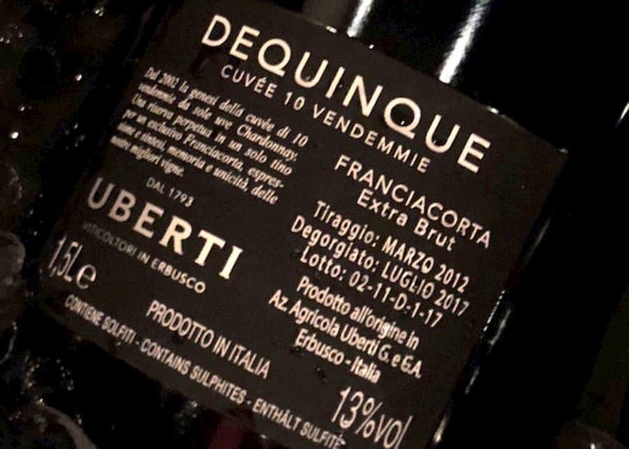 2017 Uberti Dequinque Cuvee 10 Vendemmie Extra Brut, Franciacorta DOCG