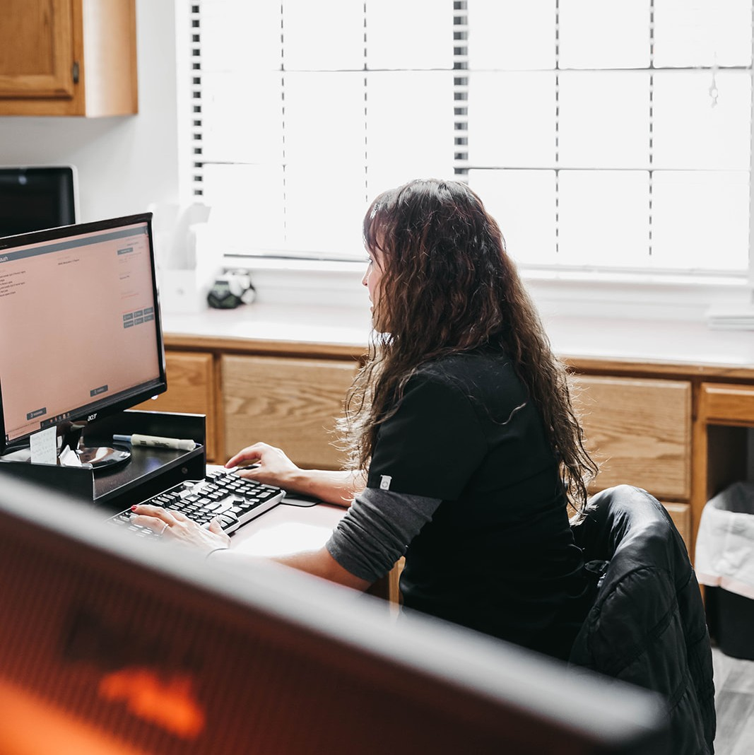 a woman typing