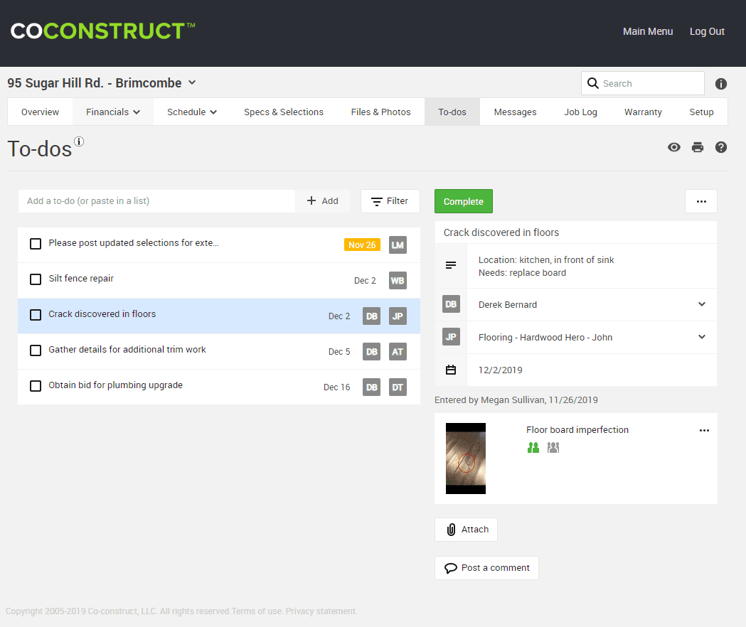 CoConstruct keeping track of to-dos