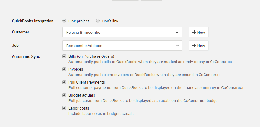 CoConstruct Integration with QuickBooks