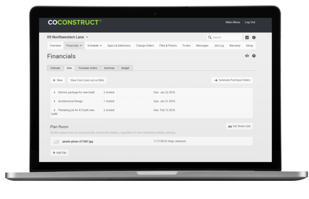 CoConstruct Bidding Software Feature