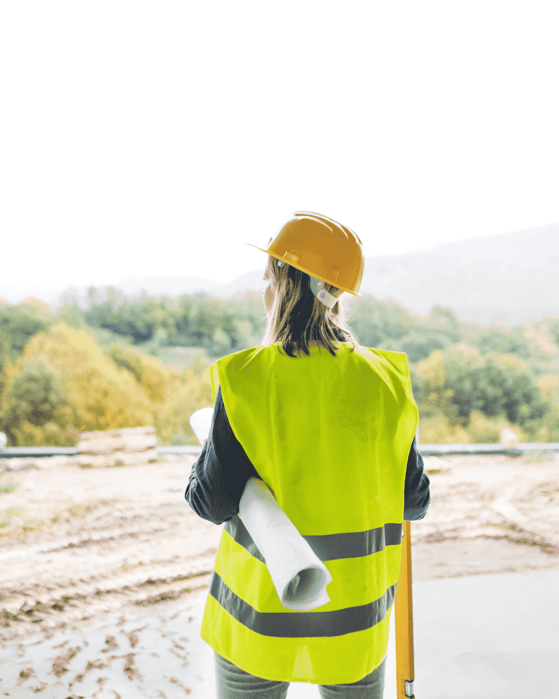 Women wearing construction hat and reflecting vest looking at the horizont | Coconstruct