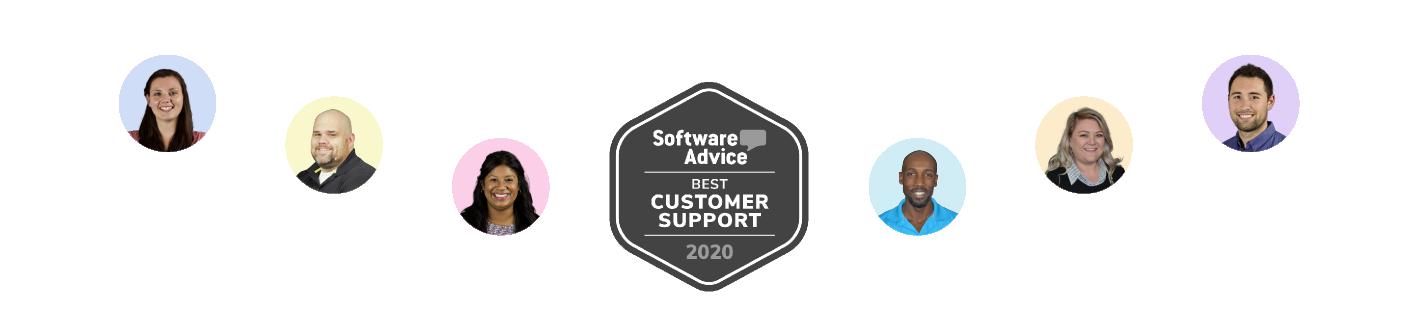 CoConstruct employee headshots surrounding Software Advice 2020 Best Customer Support Award badge