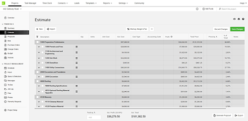 CoConstruct Single Entry Estimate laptop screenshot