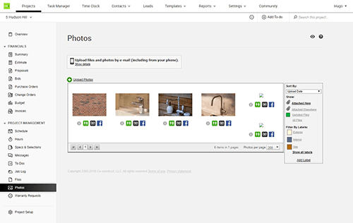 CoConstruct sharing files and photos view