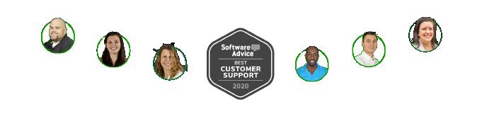 CoConstruct employee headshots surrounding Software Advice 2020 Best Customer Support Award badgeCoConstruct employee headshots surrounding Software Advice 2020 Best Customer Support Award badge