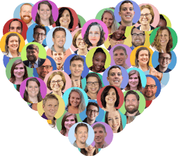CoConstruct employees headshots grouped together in the shape of a heart