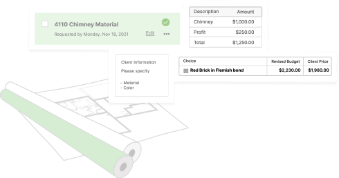 Screenshots of CoConstruct spec and selection, budgeting, and communication features in action