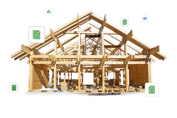 House shell with framing lumber surrounded by construction software icons   CoConstruct