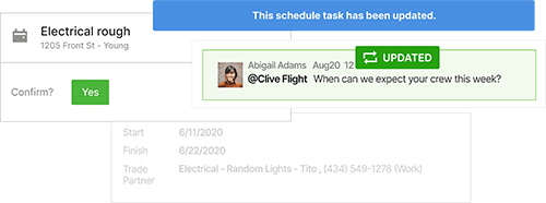 CoConstruct scheduling software feature screenshots