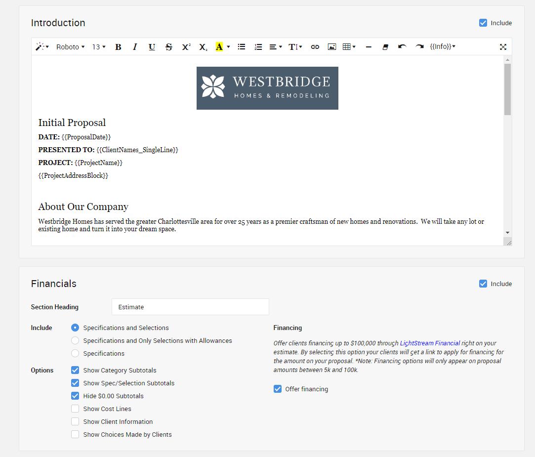 CoConstruct construction management software proposal feature
