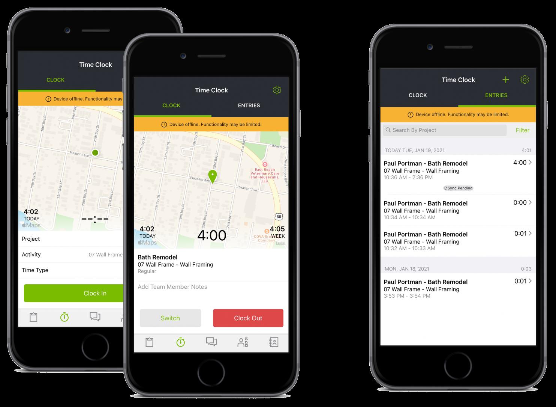 CoConstruct mobile app offline timeclock feature screenshots