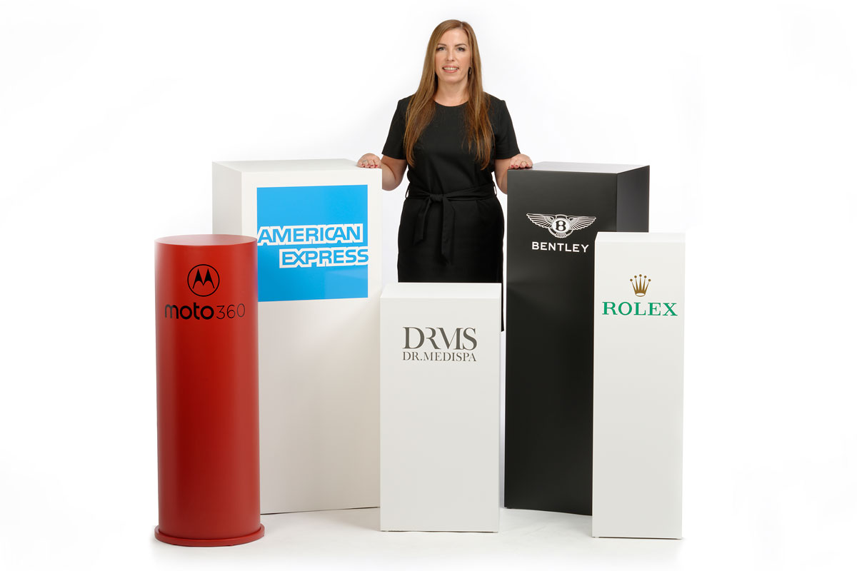 photo of various plinths with branding graphics on them