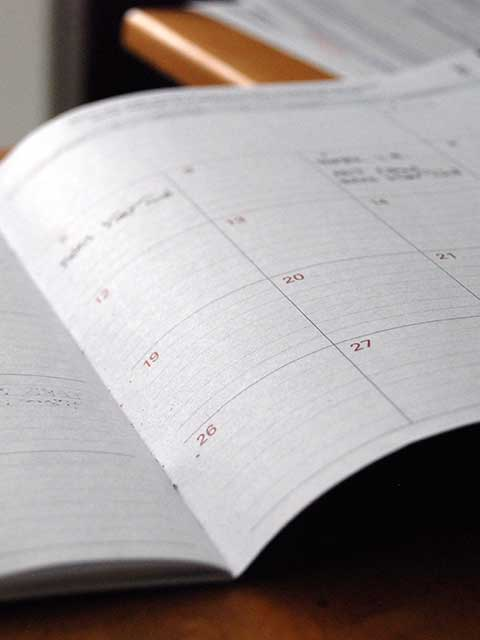 photo of a calendar open to write in
