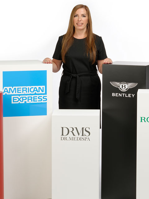 photo of plinths with graphics applied to them