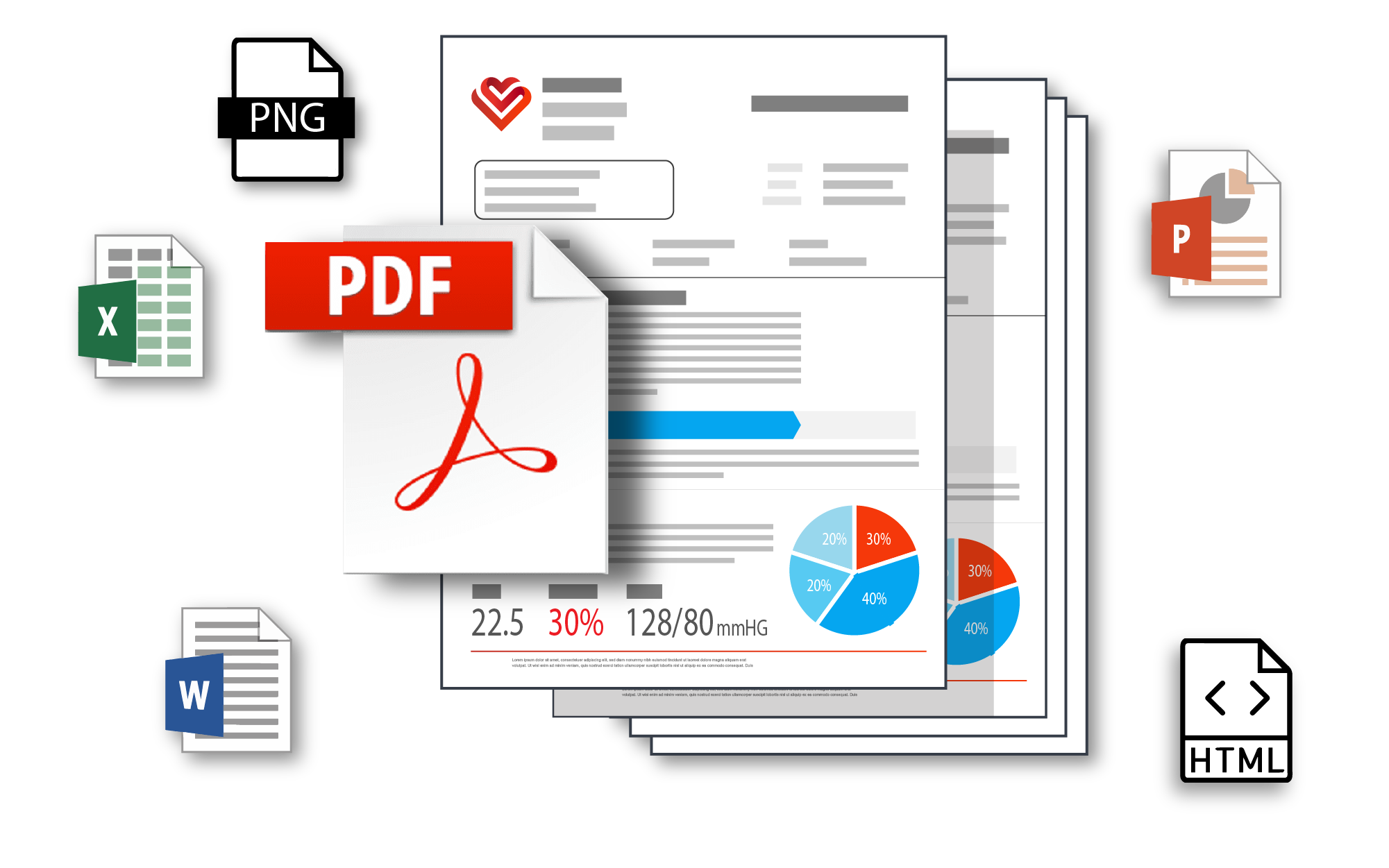 Graphic showing the different outputs we support: PDF, Excel, Word, PowerPoint, & HTML.