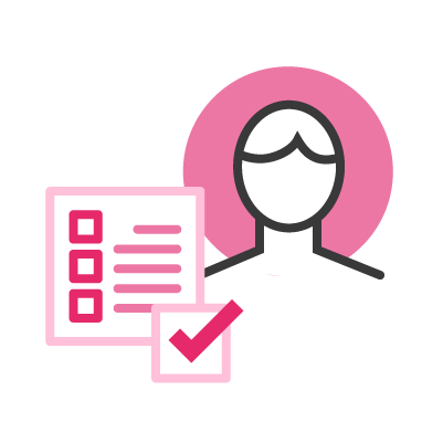 Icon with a checklist and a person avatar