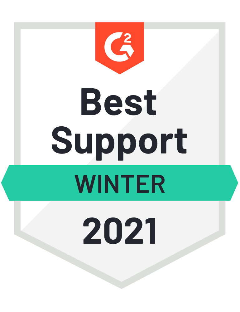 G2 Badge for Best Support, Winter 2021