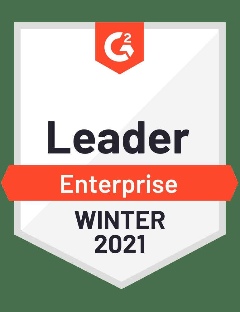 G2 Badge for Leader on Enterprise, Winter 2021