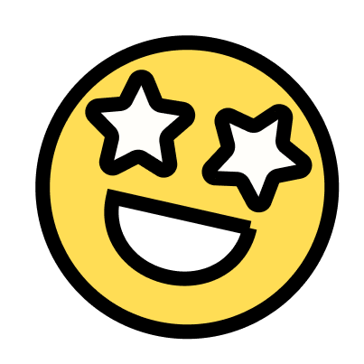An emoji with stars for eyes