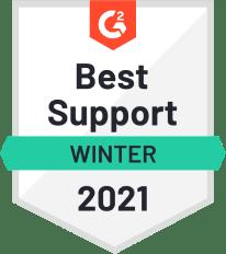G2 Badge Best Support, Winter 2021