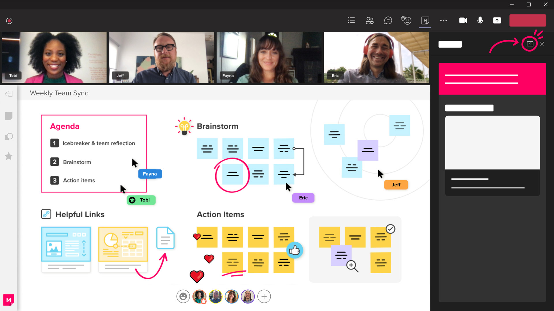 A stylized screenshot of the Microsoft Teams app with the Mural integration open. You can see four people on a video conference call while collaborating on a mural canvas.