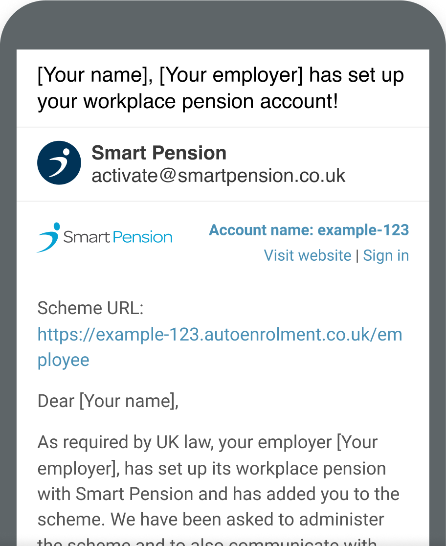 Phone showing email example