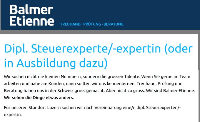 Balmer Etienne – Dipl. Steuerexperte/-expertin (oder in Ausbildung dazu)