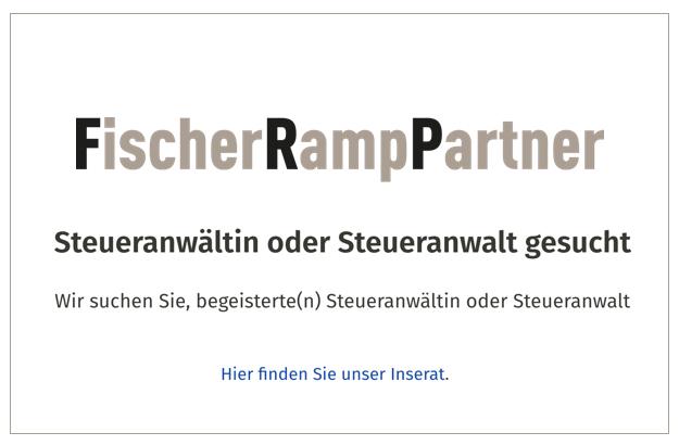 Fischer Ramp Partner – Steueranwältin oder Steueranwalt gesucht