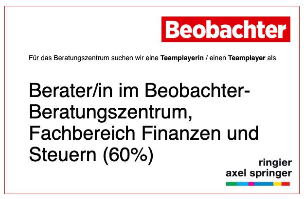 Beobachter-Beratungszentrum – Berater/in im Fachbereich Finanzen und Steuern (60%)