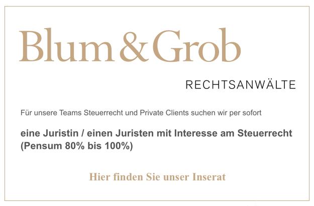 Blum&Grob – Juristin / Juristen mit Interesse am Steuerrecht (80% - 100%)
