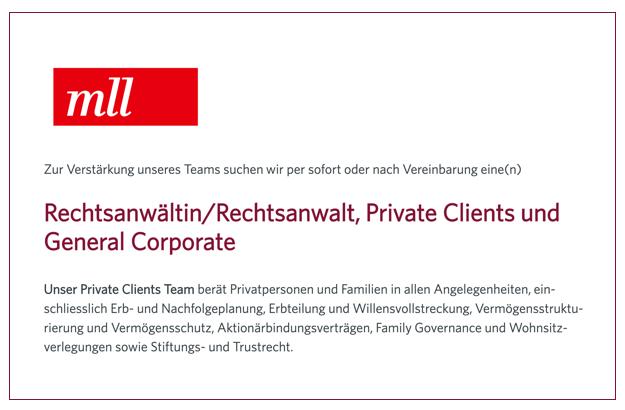 MLL – Rechtsanwältin/Rechtsanwalt, Private Clients und General Corporate