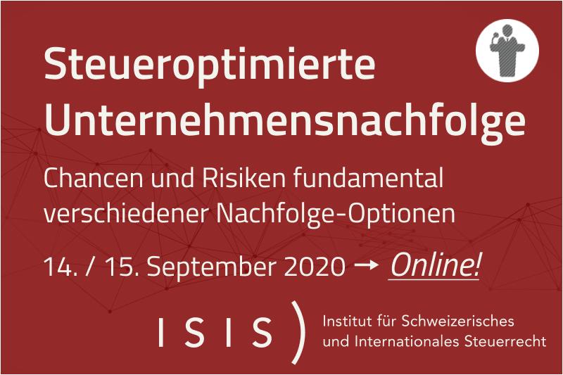 ISIS) Online-Seminar | 14./15. September 2020 | Steueroptimierte Unternehmensnachfolge