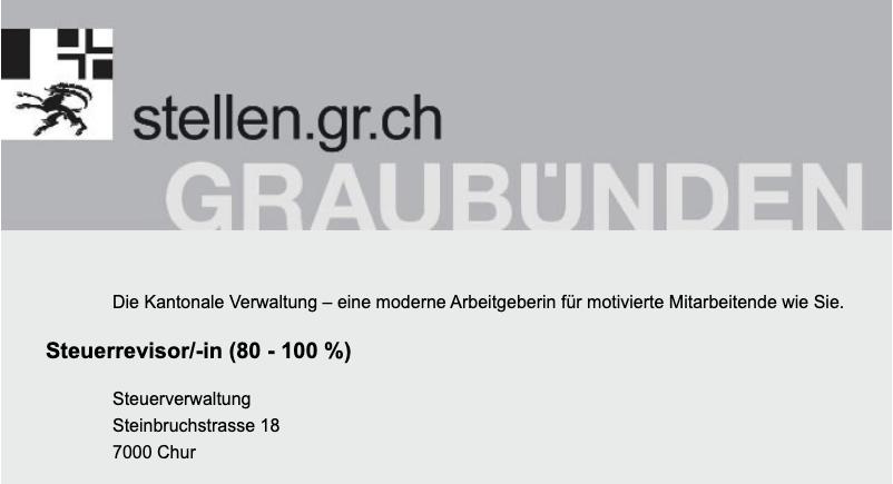Steuerrevisor/-in (80 - 100 %) | Kantonale Steuerverwaltung Graubünden
