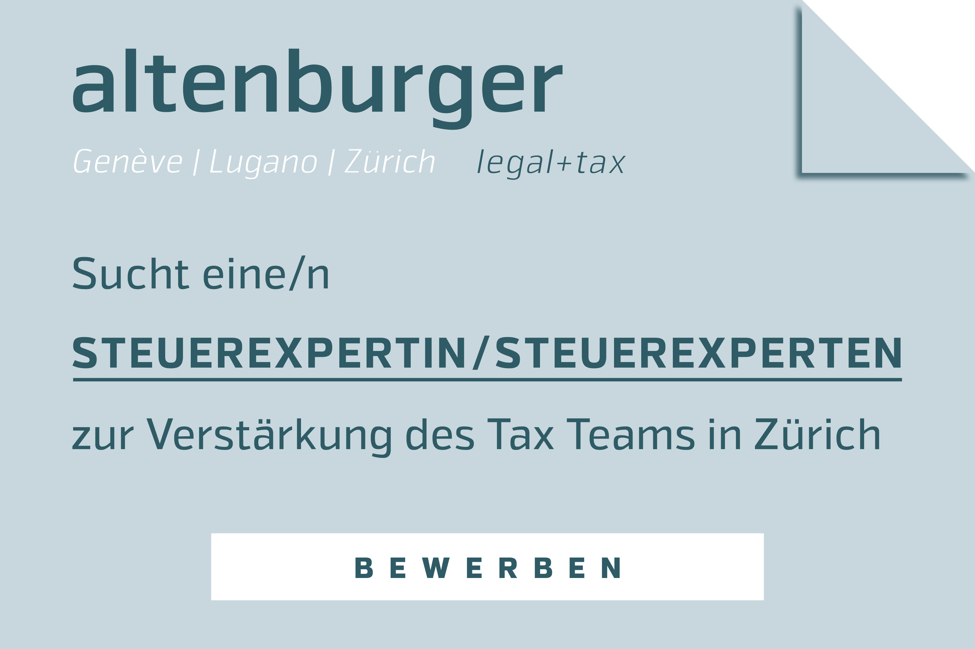 Steuerexpertin / Steuerexperten - Altenburger Ltd legal + tax