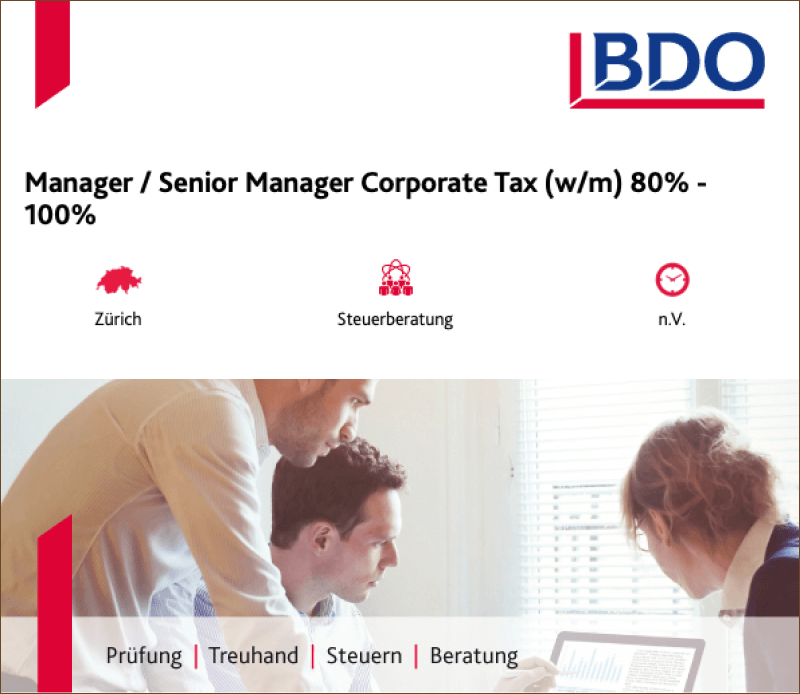 Manager / Senior Manager Corporate Tax (w/m) 80% - 100% - BDO