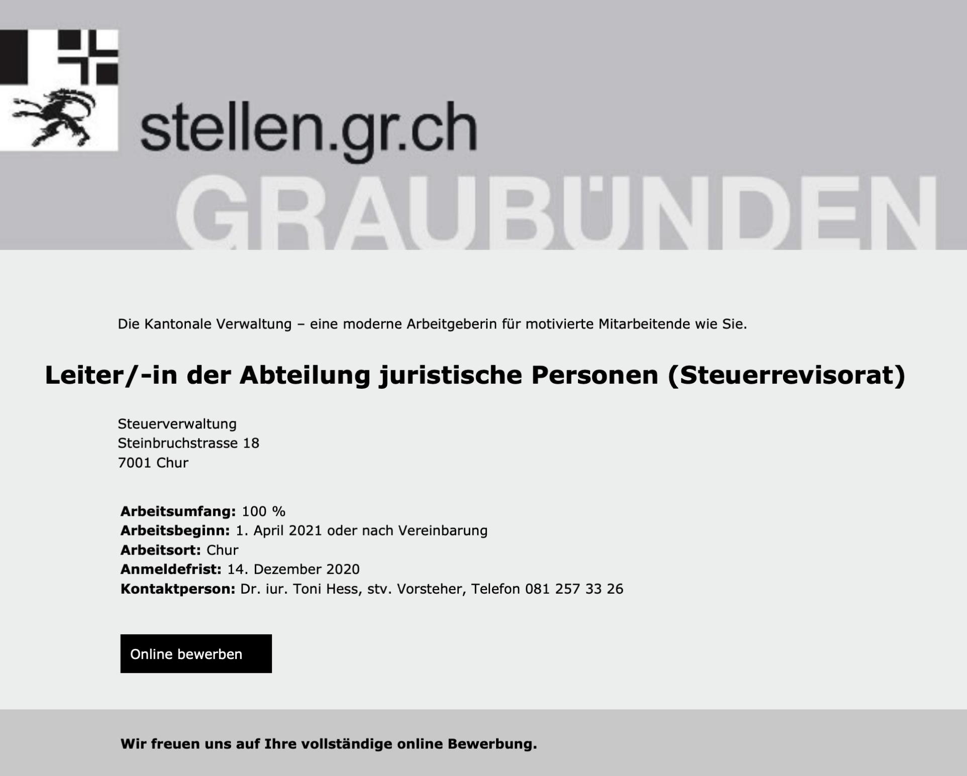 Leiter/-in der Abteilung juristische Personen (Steuerrevisorat) | Kantonale Steuerverwaltung Graubünden