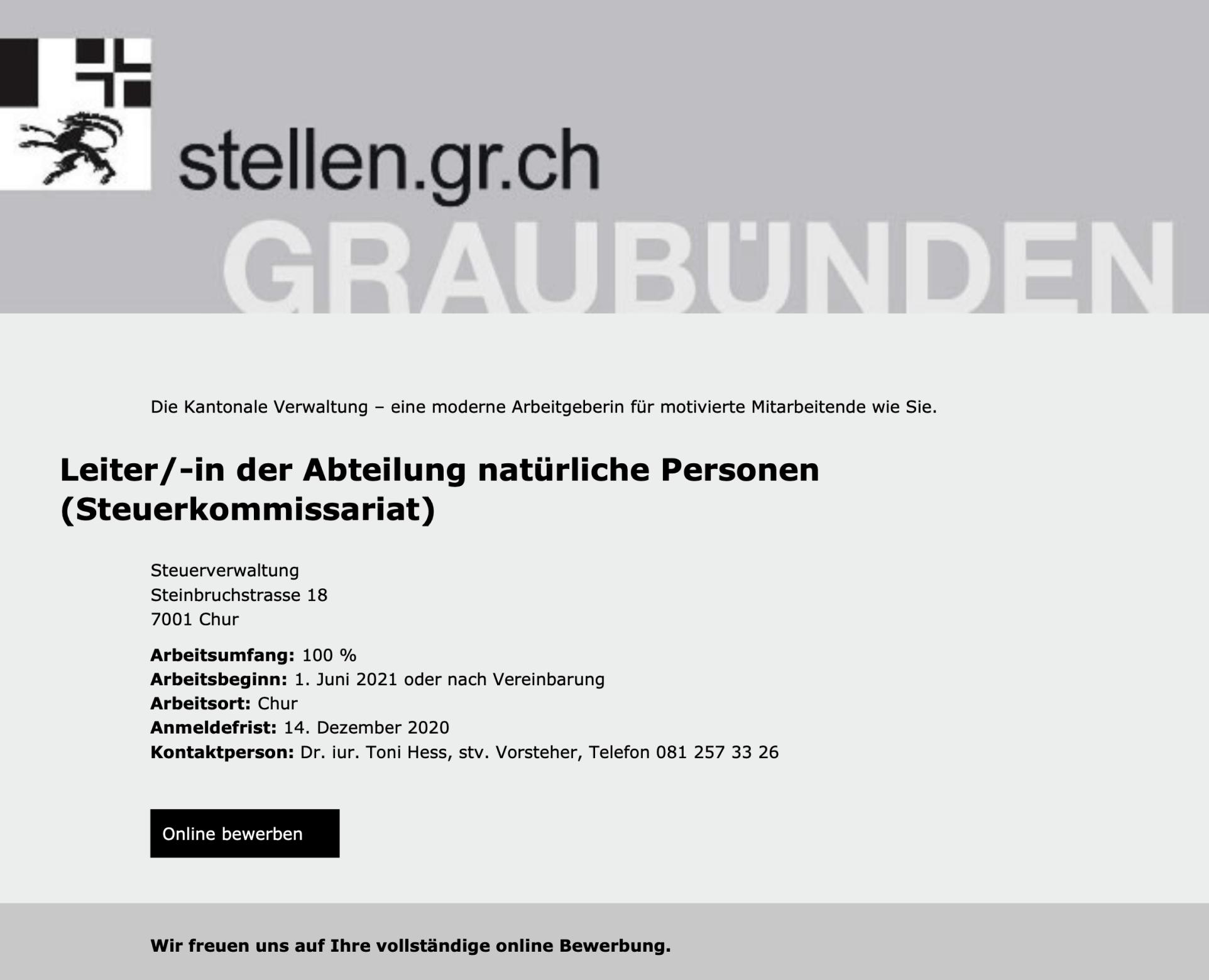 Leiter/-in der Abteilung natürliche Personen (Steuerkommissariat) | Kantonale Steuerverwaltung Graubünden