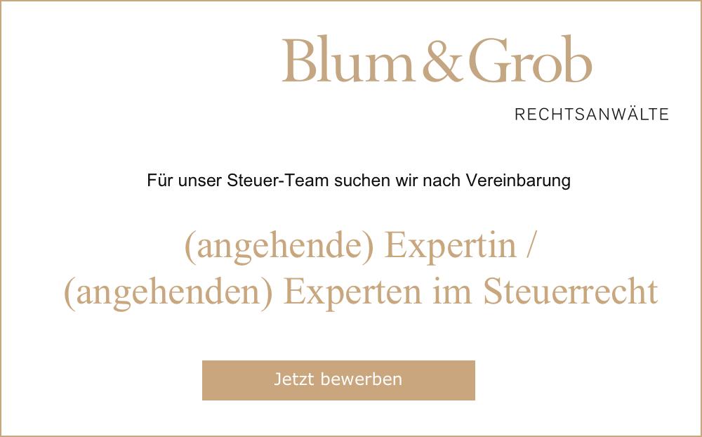 Blum&Grob Rechtsanwälte AG – (angehende) Expertin / (angehenden) Experten im Steuerrecht