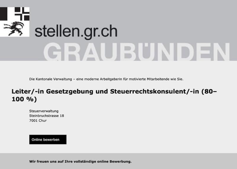 Leiter/-in Gesetzgebung und Steuerrechtskonsulent/-in (80–100 %) | Kantonale Steuerverwaltung Graubünden