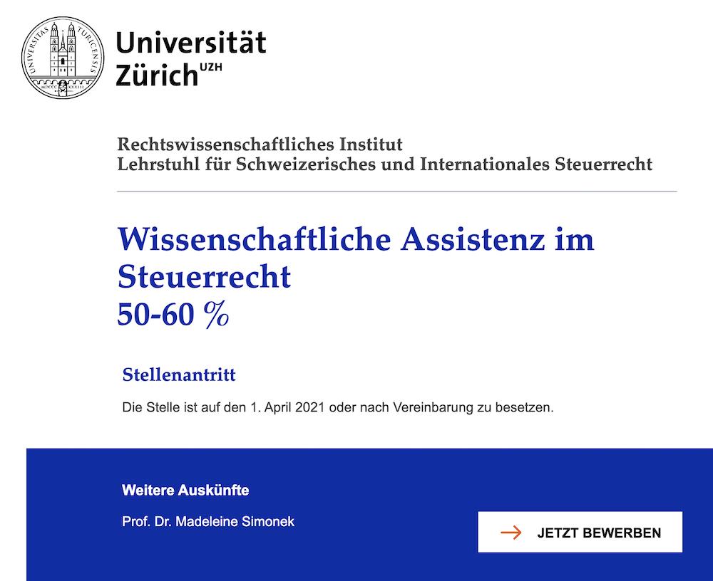 Universität Zürich - Wissenschaftliche Assistenz im Steuerrecht 50-60 %