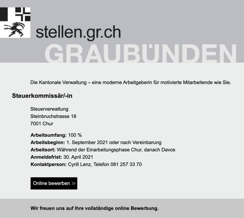 Steuerkommissär/-in (100%) | Kantonale Steuerverwaltung Graubünden