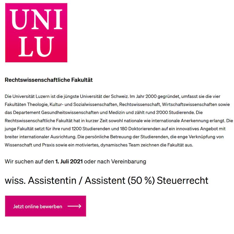 Wiss. Assistentin / Assistent (50 %) Steuerrecht – Universität Luzern
