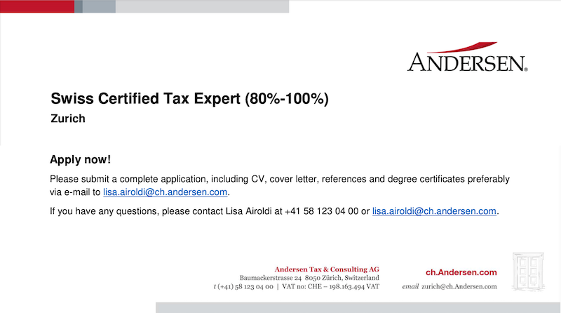 Swiss Certified Tax Expert (80%-100%) - Andersen Tax & Consulting Ltd