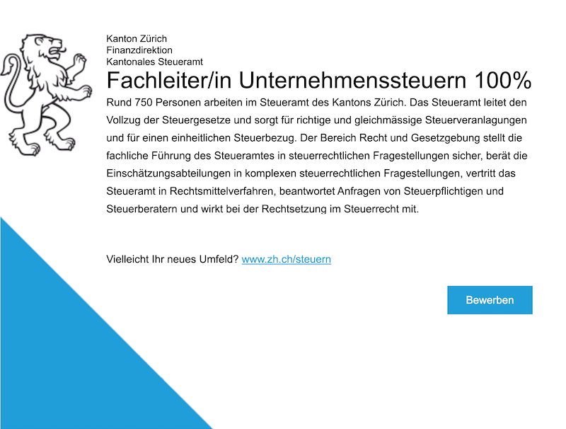 Fachleiter/in Unternehmenssteuern 100% - Kantonales Steueramt Zürich