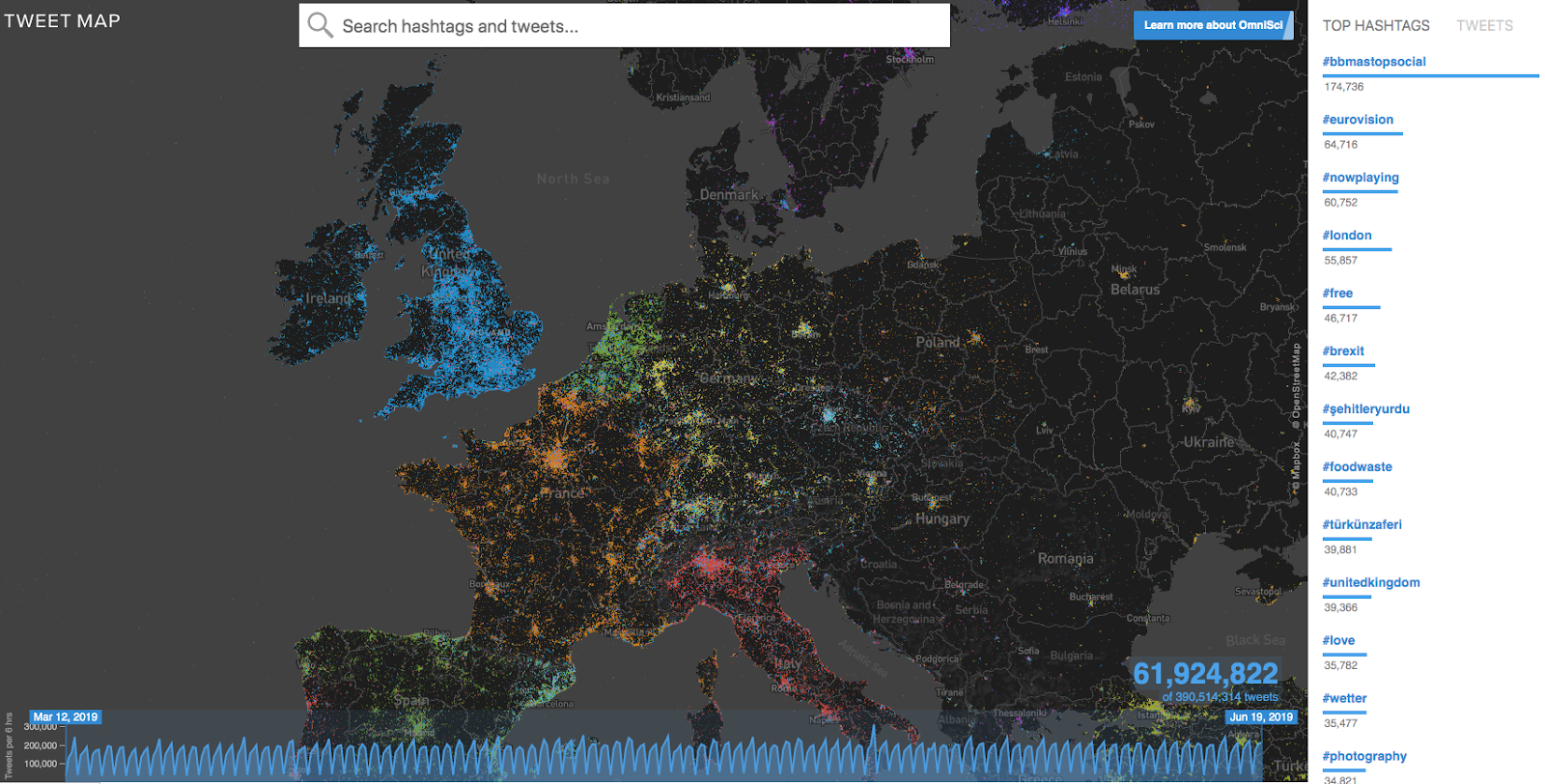 Location intelligence photo shows a map of Europe color coated based on the density of Tweets for a specific time period using the OmniSci Tweetmap visualization demo.