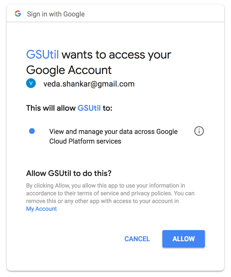gsutil authentication